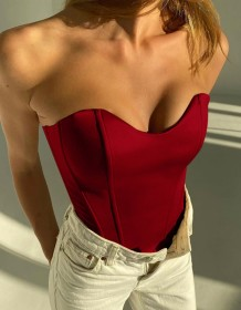 Summer Red Vintage Strapless Busiter Top