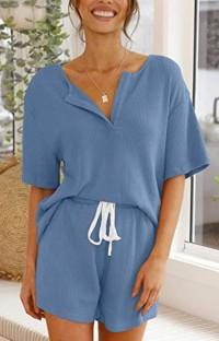 Летняя синяя вязаная рубашка и шорты Matching 2PC Lounge Set