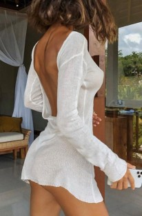 Summer White Backless Long Sleeve Knitted Mini Dress Cover Up