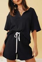 Summer Black Knitting Shirt and Shorts Matching 2PC Lounge Set