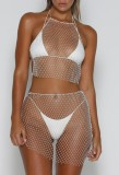 Yaz Boncuklu File Crop Top ve Mini Etek 2PC Cover-Up Beachwear