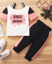 Çocuk Kız Yaz Baskı Kontrast Gömlek ve Pantolon 2PC Eşleştirme Seti