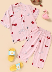 Çocuk Kız Yaz Çilek Baskı Gömlek ve Pantolon 2'li Pijama Takımı