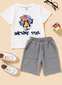 Camicia bianca con stampa estiva da bambina e pantaloncini grigi 2 pezzi
