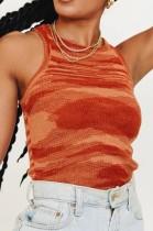 Summer Stripes Red Knitting Ärmelloses Crop Top