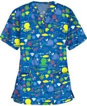 Chemise d'infirmière imprimée d'été à col en V avec poches