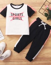 Детская летняя контрастная рубашка и брюки с принтом для девочек, комплект из 2 предметов