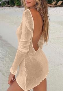 Summer Khaki Backless Long Sleeve Knitted Mini Dress Cover Up