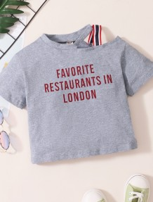 Baby Girl Summer Print Grey Irregular Shirt