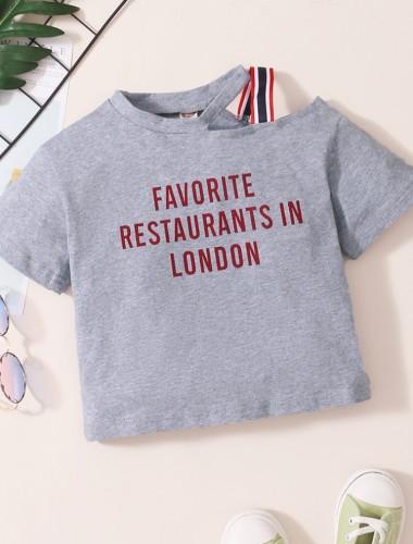 Baby Girl Summer Print Grey Irregular Shirt