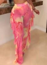 Pantaloni con volant sexy rosa con stampa estiva