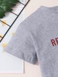 Camisa Irregular Cinza com Estampa de Verão para Bebês