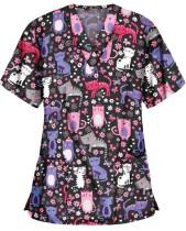Camisa de enfermera con cuello en V y estampado de verano con bolsillos