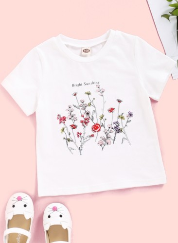 Baby Girl Summer Floral White O-Neck Shirt