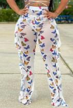 Abbigliamento da festa con pantaloni sexy con volant a farfalla con stampa estiva