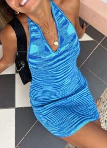 Summer Blue Stripes V-Neck Knitting Mini Dress
