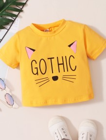 Baby Girl Summer Print Yellow O-Neck Shirt