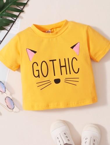 Baby Girl Summer Print Yellow O-Neck Shirt