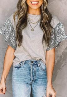 Летняя серая рубашка с круглым вырезом и контрастными рукавами с пайетками