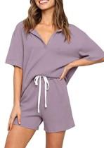 Camicia e pantaloncini per maglieria viola estivi abbinati al set da salotto 2PC