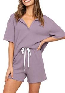 Летняя фиолетовая рубашка и шорты для гостиной из 2 предметов