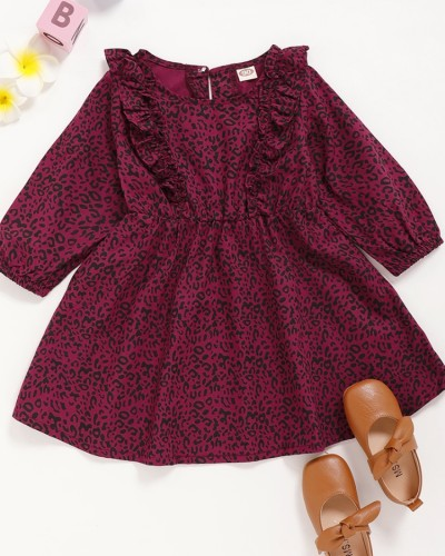 女の赤ちゃんヒョウPring長袖スケータードレス