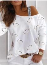 Camisa de enfermera blanca con cuello en V y estampado de verano con bolsillos