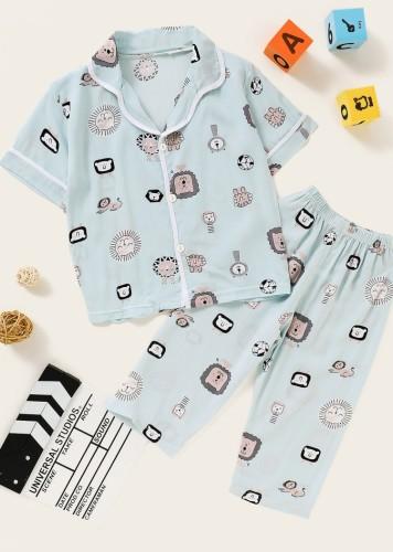 Kids Boy Summer Strawberry Print Shirt and Pants 2PC Pajama Set