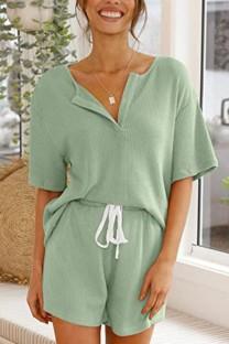 Летняя зеленая вязаная рубашка и шорты Matching 2PC Lounge Set