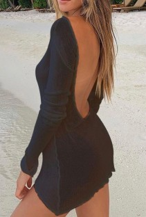 Summer Black Backless Long Sleeve Knitted Mini Dress Cover Up