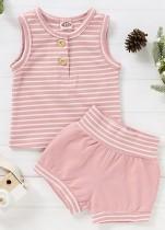 Baby Girl Summer Stripes Shirt und Shorts Matching Set