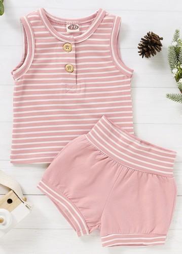 Completo coordinato camicia e pantaloncini a righe estive da bambina