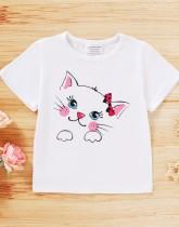 Kids Girl Summer Animal Print Camisa branca com decote em O