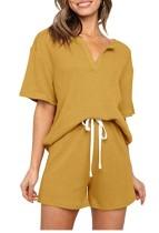 Summer Yellow Knitting Shirt and Shorts Matching 2PC Lounge Set