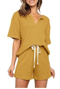 Летняя желтая вязаная рубашка и шорты для гостиной из 2 предметов
