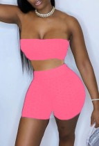 Sommer Pink Waffel Sexy Bandeau Top und Biker Shorts 2PC Matching Set