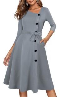 Spring Vintage Grey Decent Skater Dress with 3/4 Sleeves