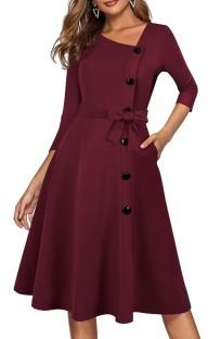 Spring Vintage Red Decent Skater Dress with 3/4 Sleeves