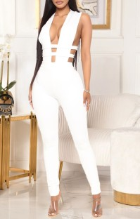 Summer White Sexy Hollow Out Sleeveless Bodycon Jumpsuit