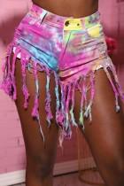 Short en denim à pompons tie-dye d'été