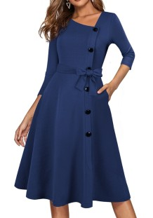 Spring Vintage Blue Decent Skater Dress with 3/4 Sleeves