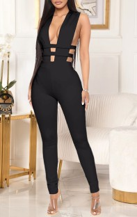 Summer Black Sexy Hollow Out Sleeveless Bodycon Jumpsuit