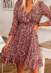 Summer High Waist Floral Skater Dress with 3/4 Sleeves