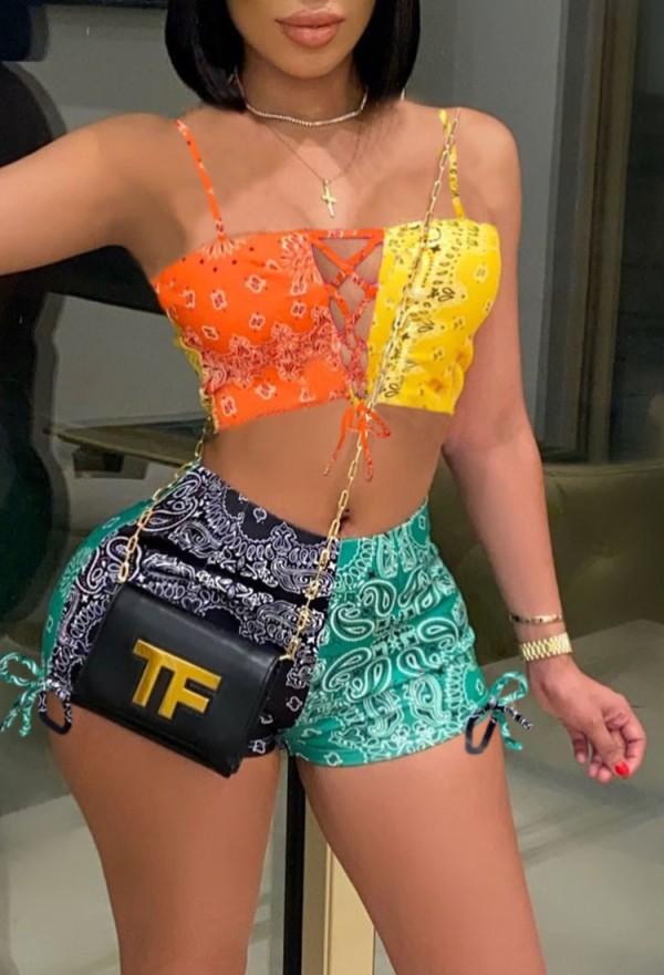 Summer Colourful Print Schnür-Crop-Top und Shorts 2PC Matching Set