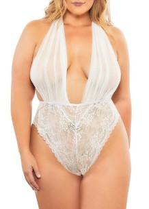 Summer White Lace Deep-V Teddy Lingerie