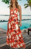 Sommer Casual Bohemain Floral Deep-V Strap Langes Maxi Sommerkleid