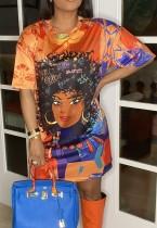 Sommer Charakter Druck Orange Loose Shirt Kleid