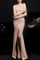 Summer Nude Wrapped Strap Langes Abendkleid
