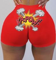 Bodycon Jogging-Shorts mit hoher Taille und Sommerdruck