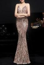 Sommer goldene Pailletten Riemen Meerjungfrau lange Abendkleid